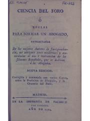 Ciencia del foro o reglas para formar un abogado, 1794