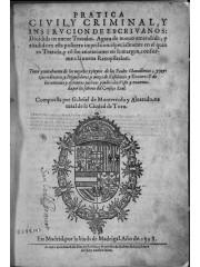 Pratica ciuil y criminal y instrucción de escriuanos, 1598
