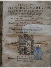 Reportori general y breu sumari per orde alphabetich, 1608