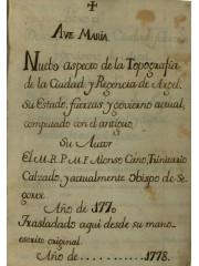 Nuebo aspecto de la topografía…, 1778
