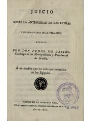 Juicio sobre la antigüedad de las letras y otras cosas de la vida civil, 1800