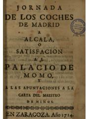 Jornada de los coches de Madrid a Alcala …, 1714
