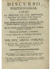 Discurso politico-legal sobre la ereccion de los diputados …, 1783