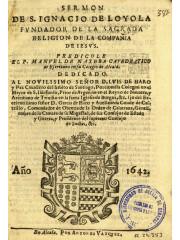 Sermon de S. Ignacio de Loyola, 1642