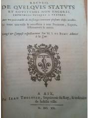 Recueil de quelques statuts et coustumes, 1620