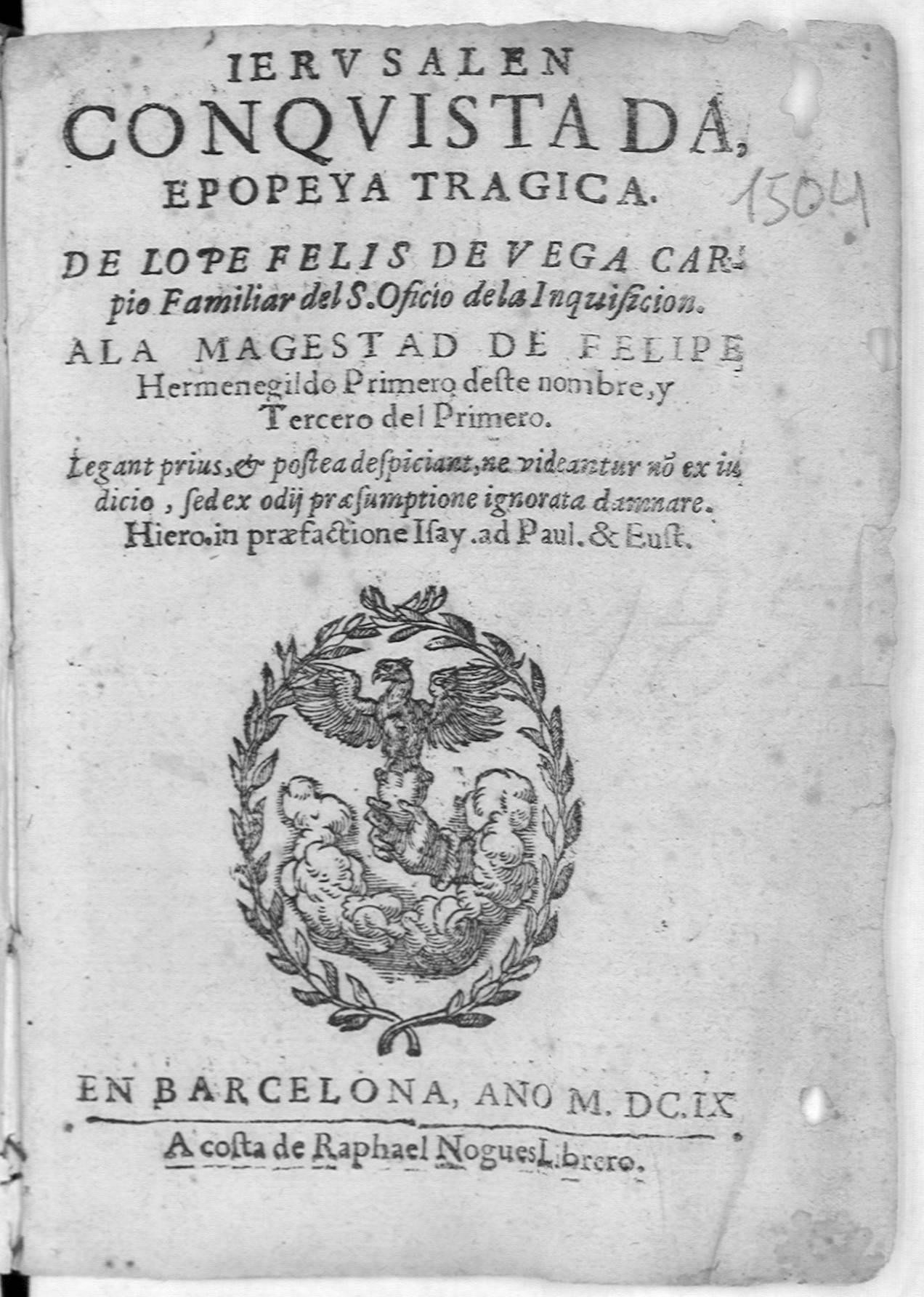 Ierusalen conquistada : epopeya tragica, 1609