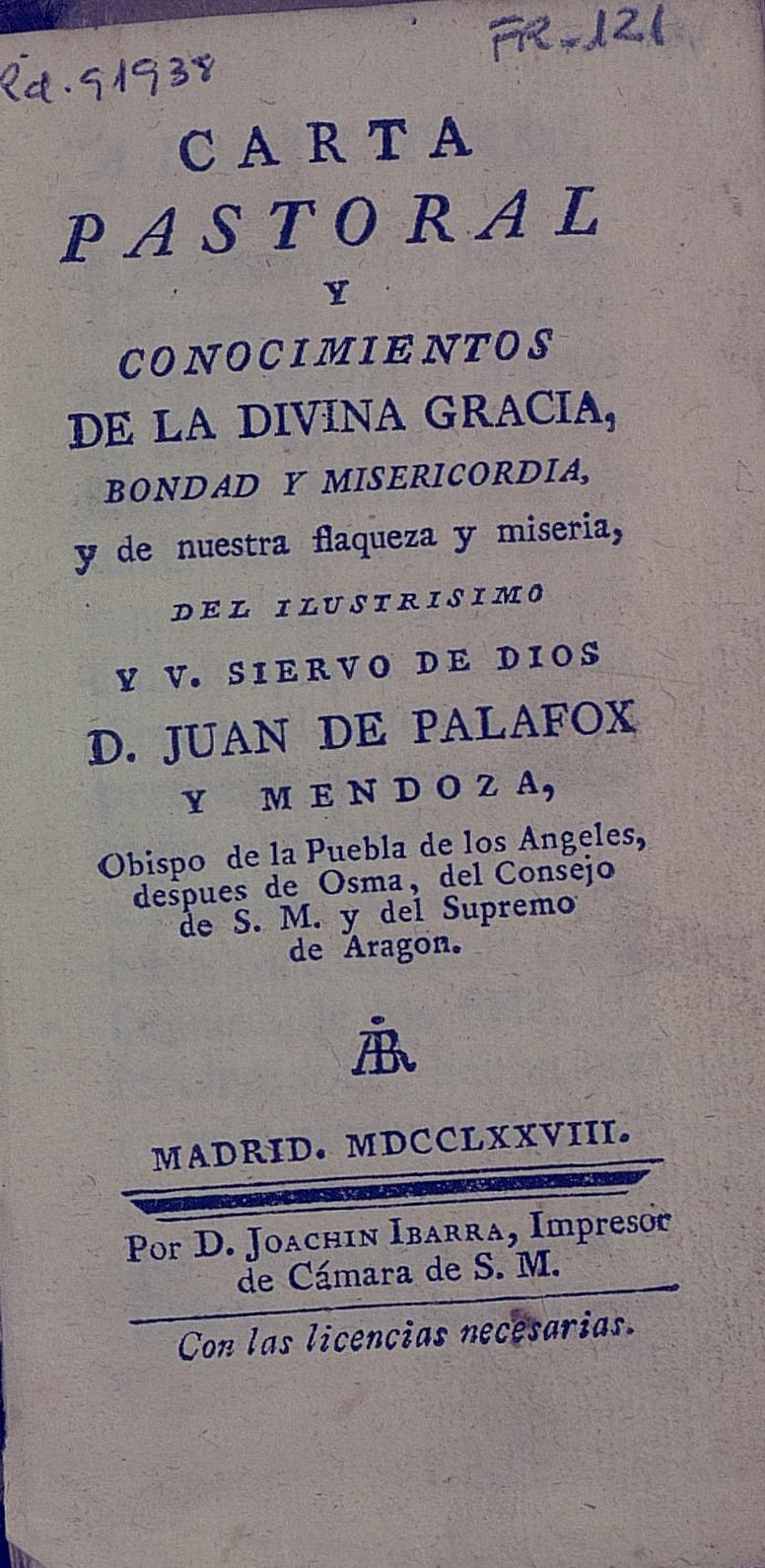 Carta pastoral, 1778