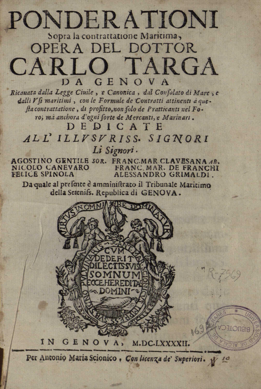 Ponderationi sopra la contrattatione maritima, 1692