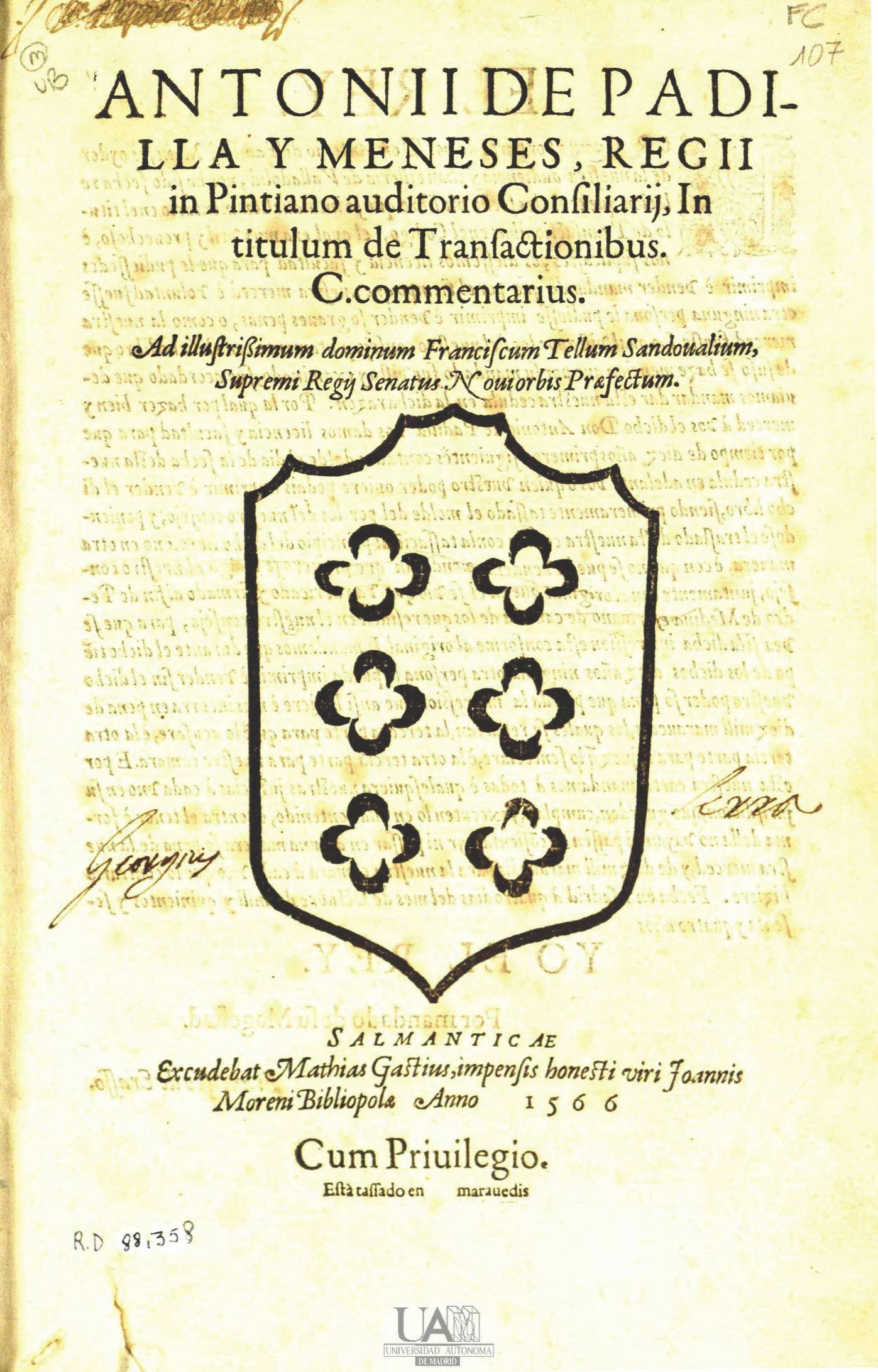 In titulum de Transactionibus C. commentarius ... , 1566
