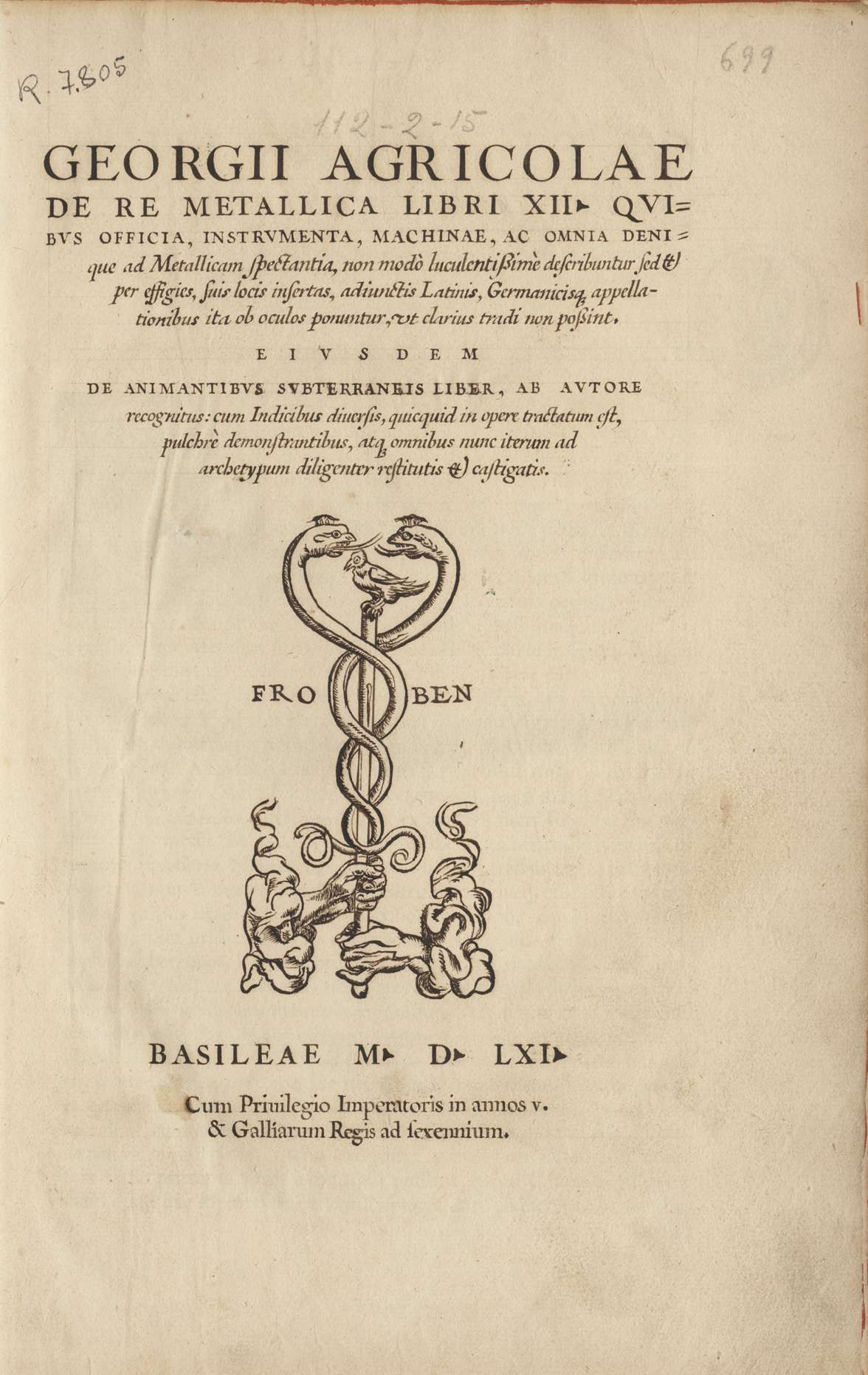 De re metallica libri XII, 1561