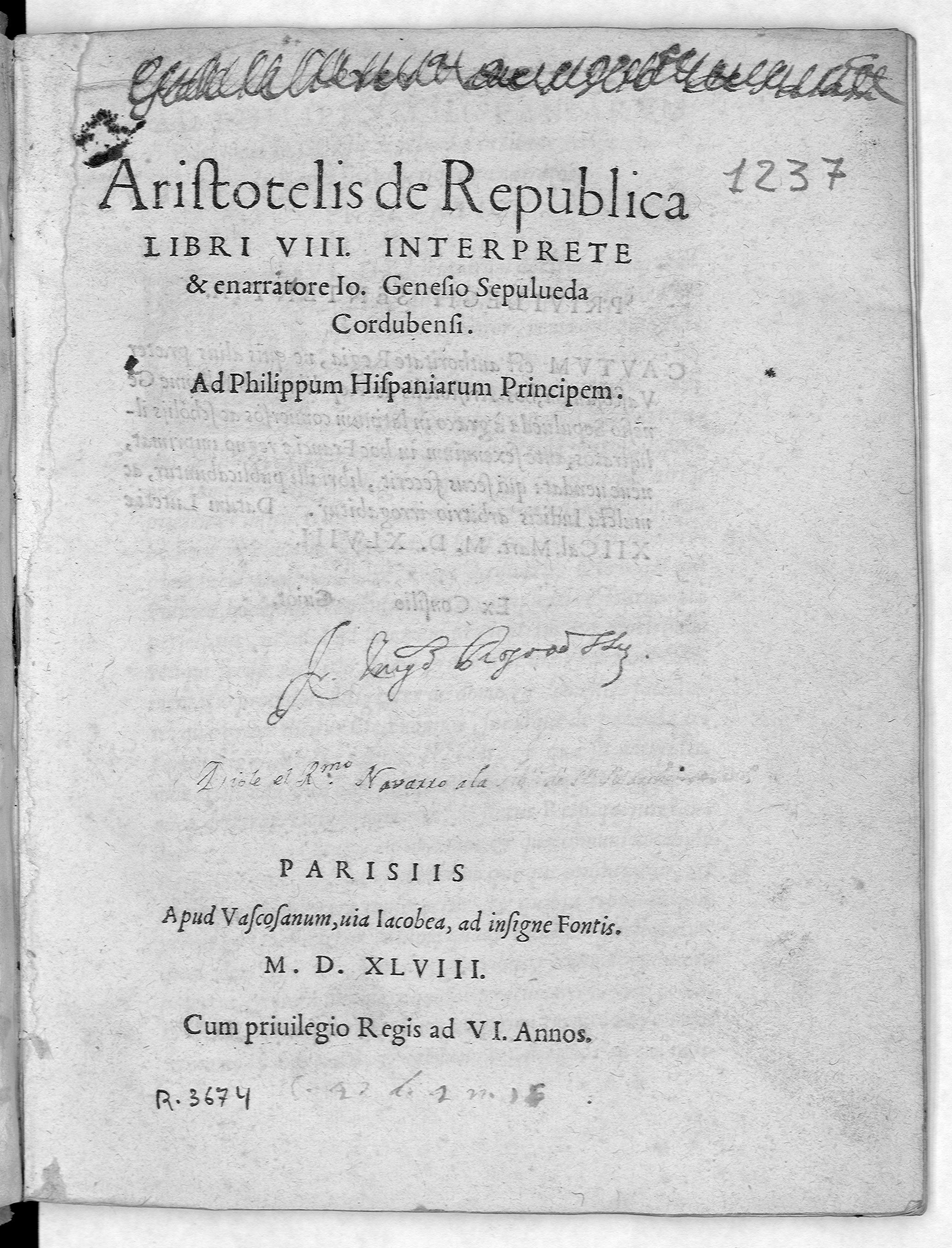 Aristotelis de Republica libri VIII, 1548