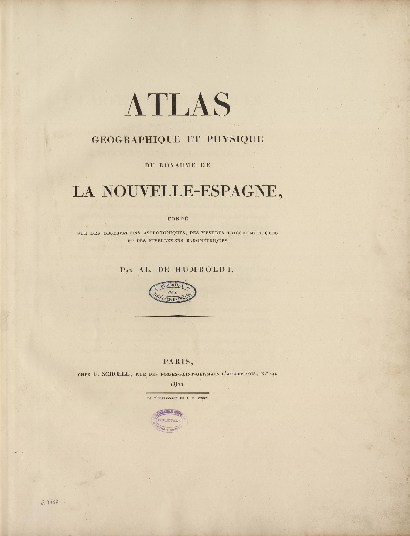 Atlas géographique et physique du royaume de la Nouvelle-Espagne, 1811