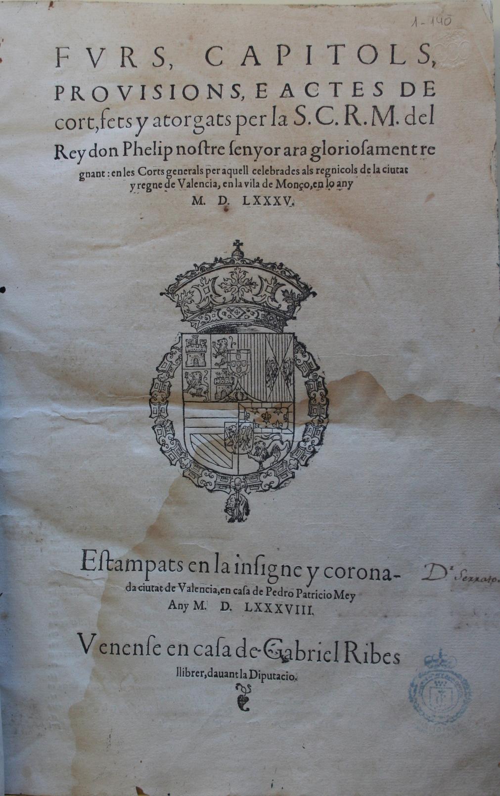 Fvrs, capitols, provisions, e actes de cort, 1588-1635