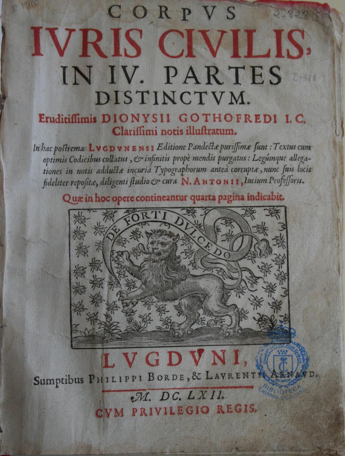 Corpus iuris civilis. [Pandectae], 1662