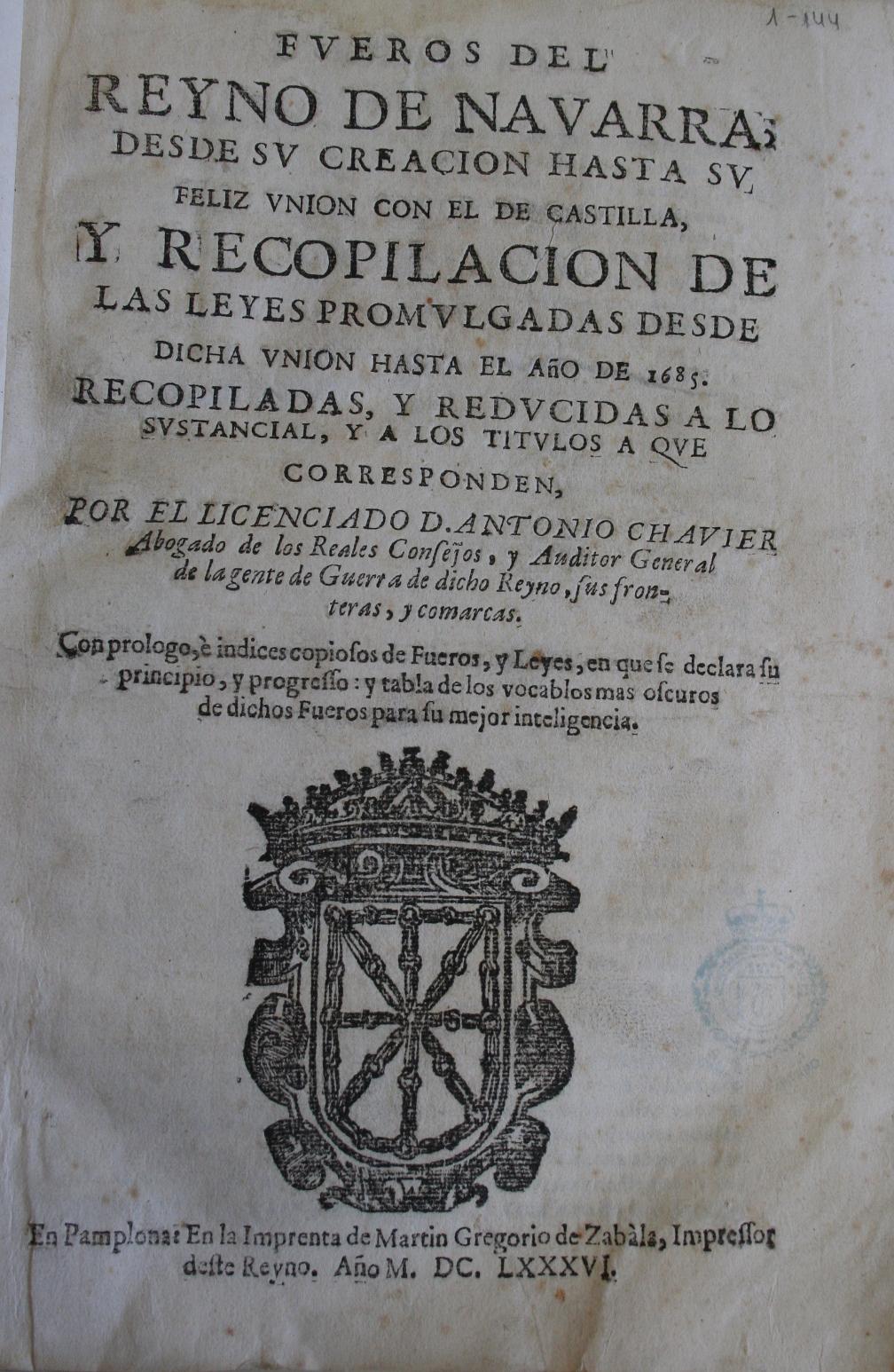 Fueros del Reyno de Navarra, 1686