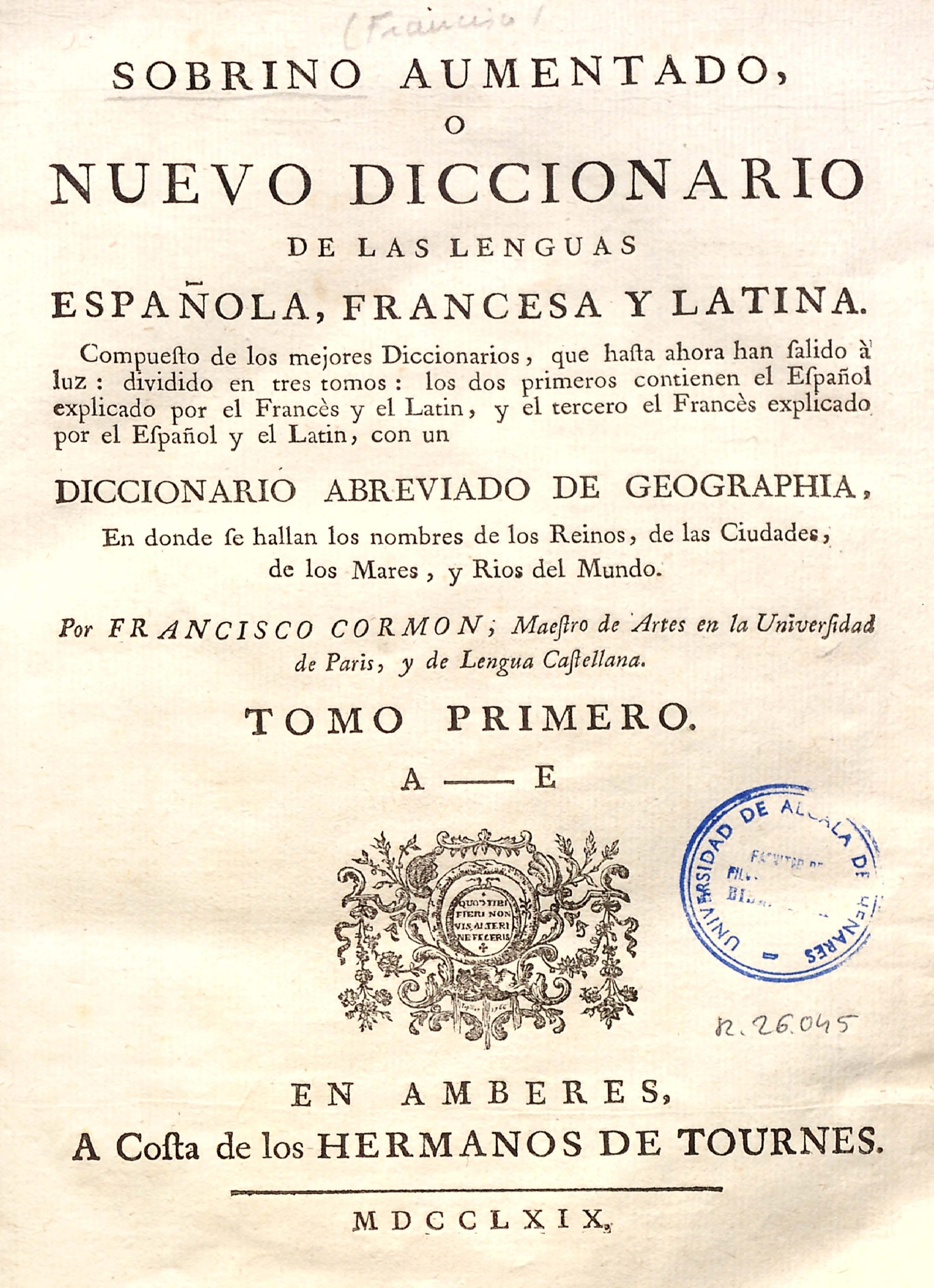 Sobrino aumentado o Nuevo diccionario..., 1769