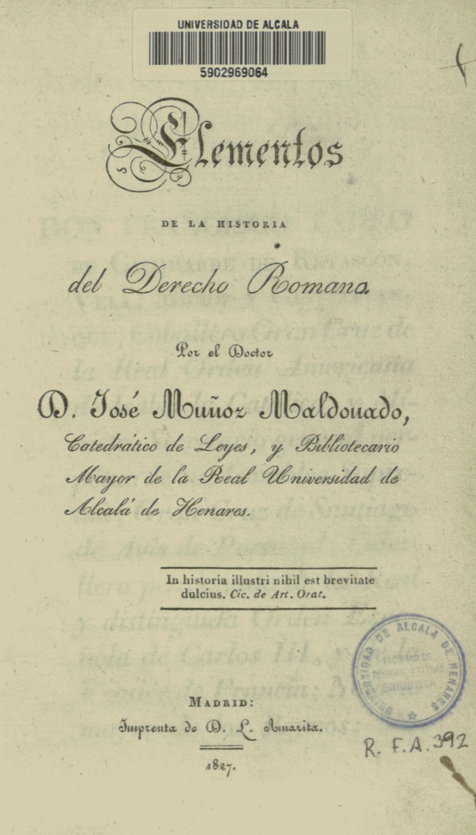 Elementos de la historia del Derecho Romano, 1827