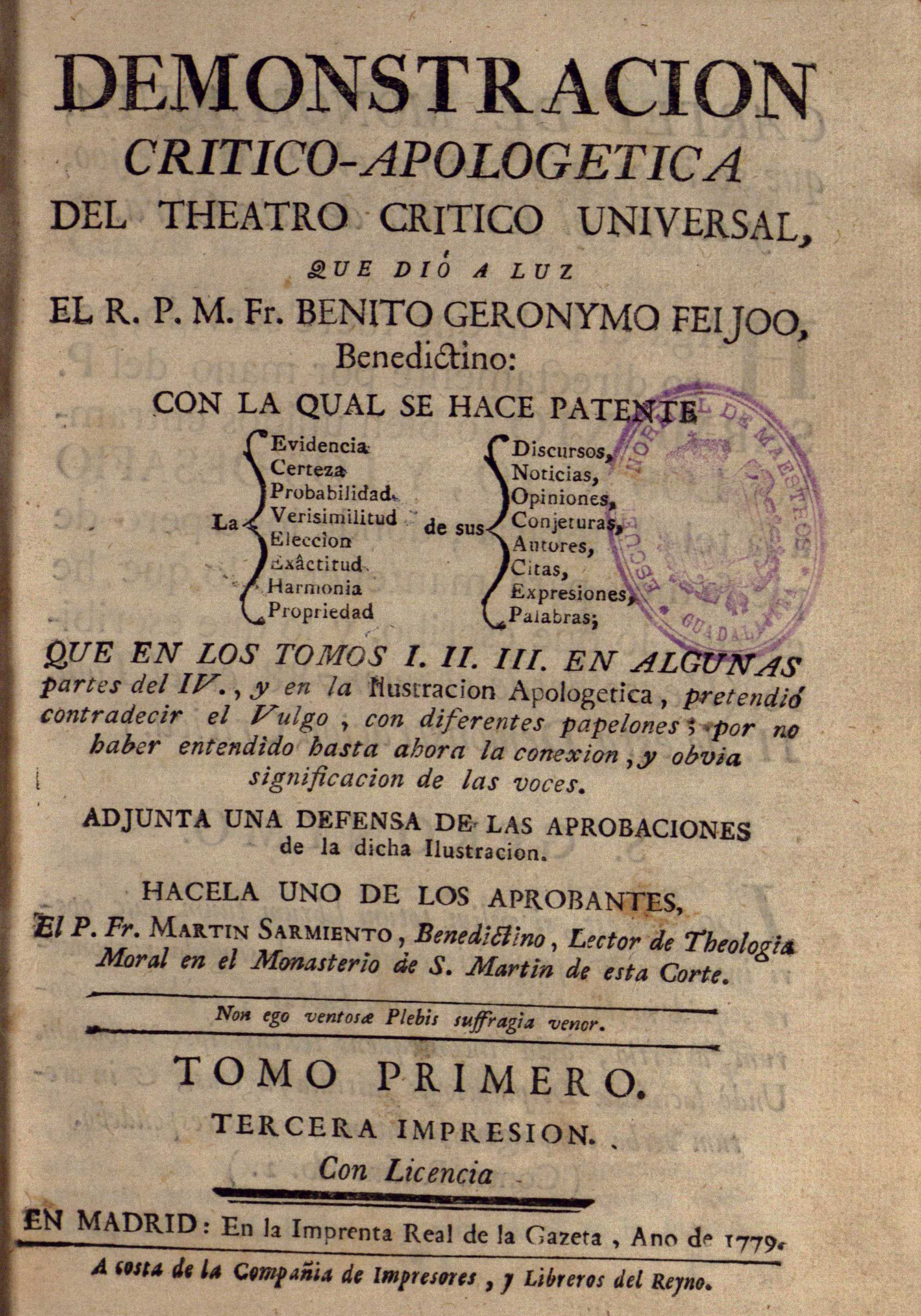 Demostracion critico-apologetica del Theatro Crítico Universal, 1779