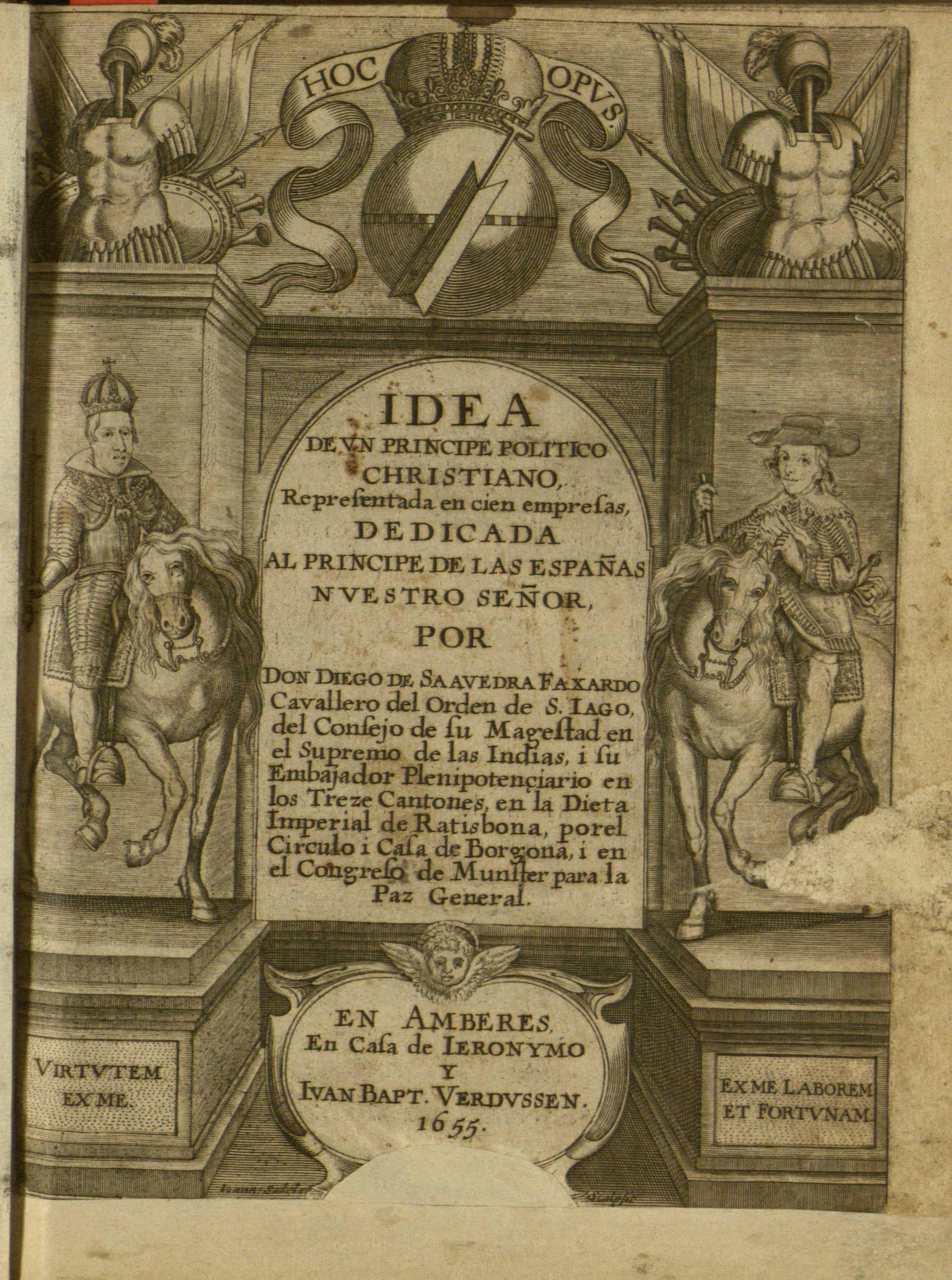 Idea de un príncipe político christiano representada en cien empresas, 1655