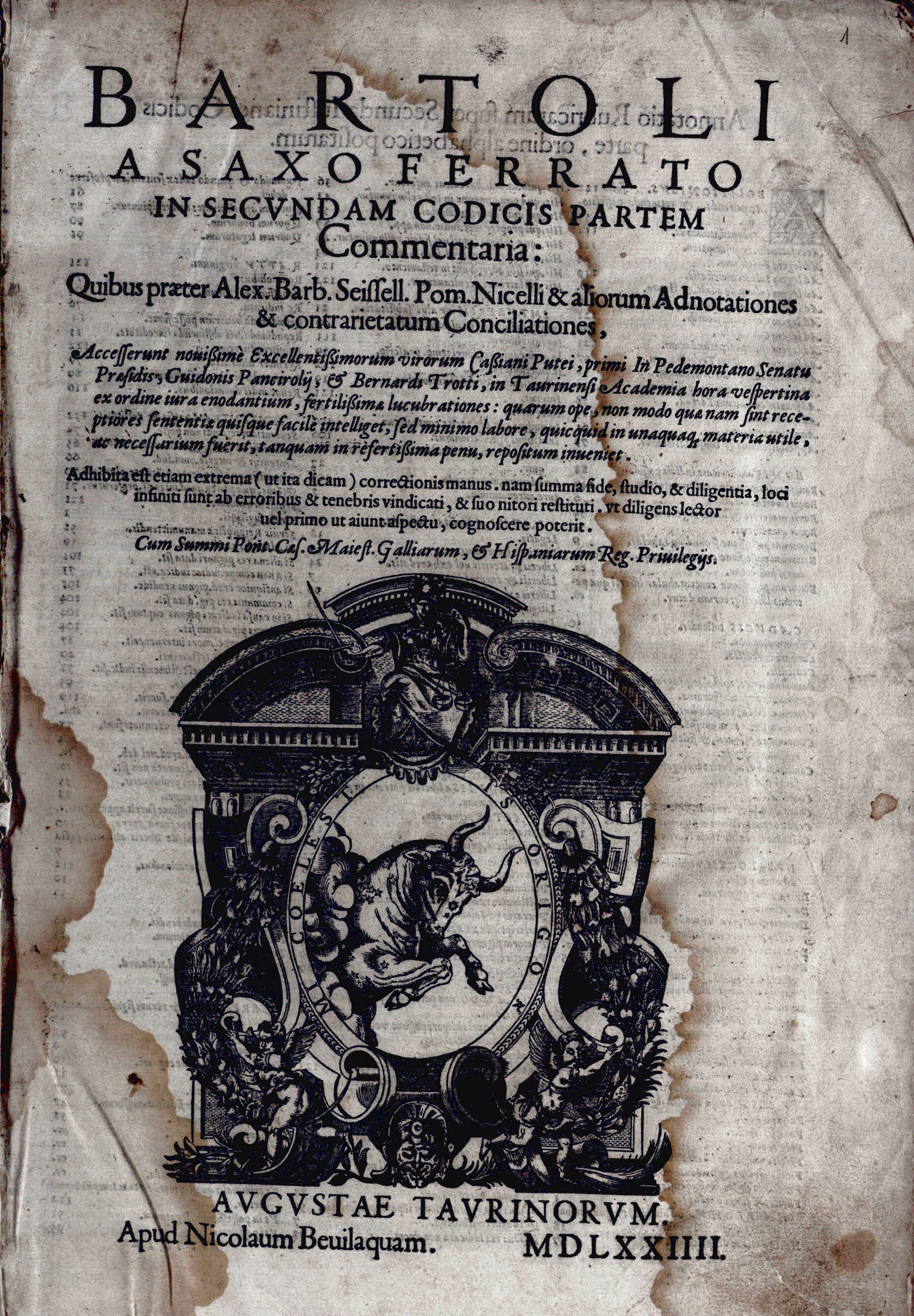 Bartoli a Saxoferrato In secundam Codicis partem..., 1574