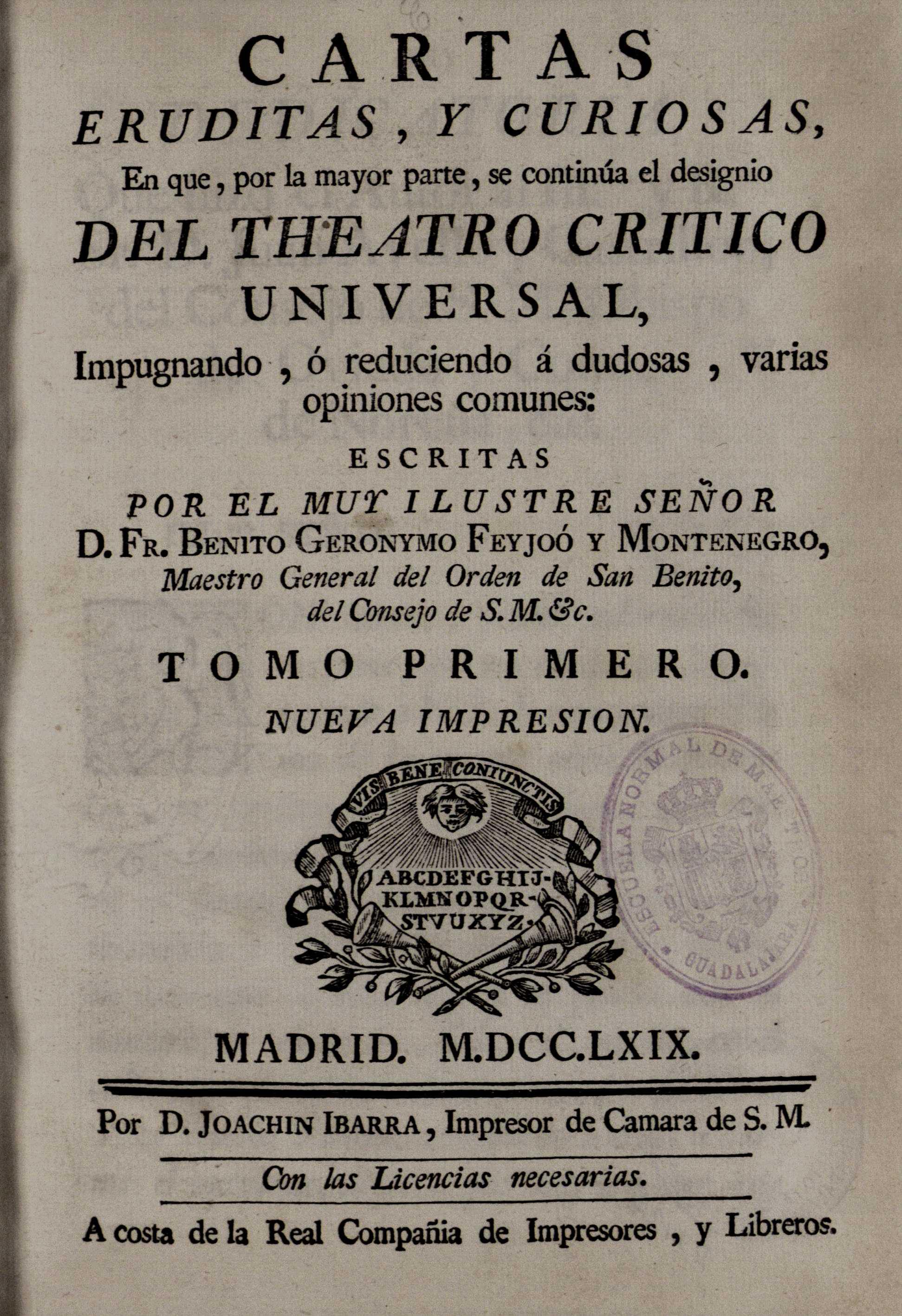 Cartas eruditas y curiosas, 1769