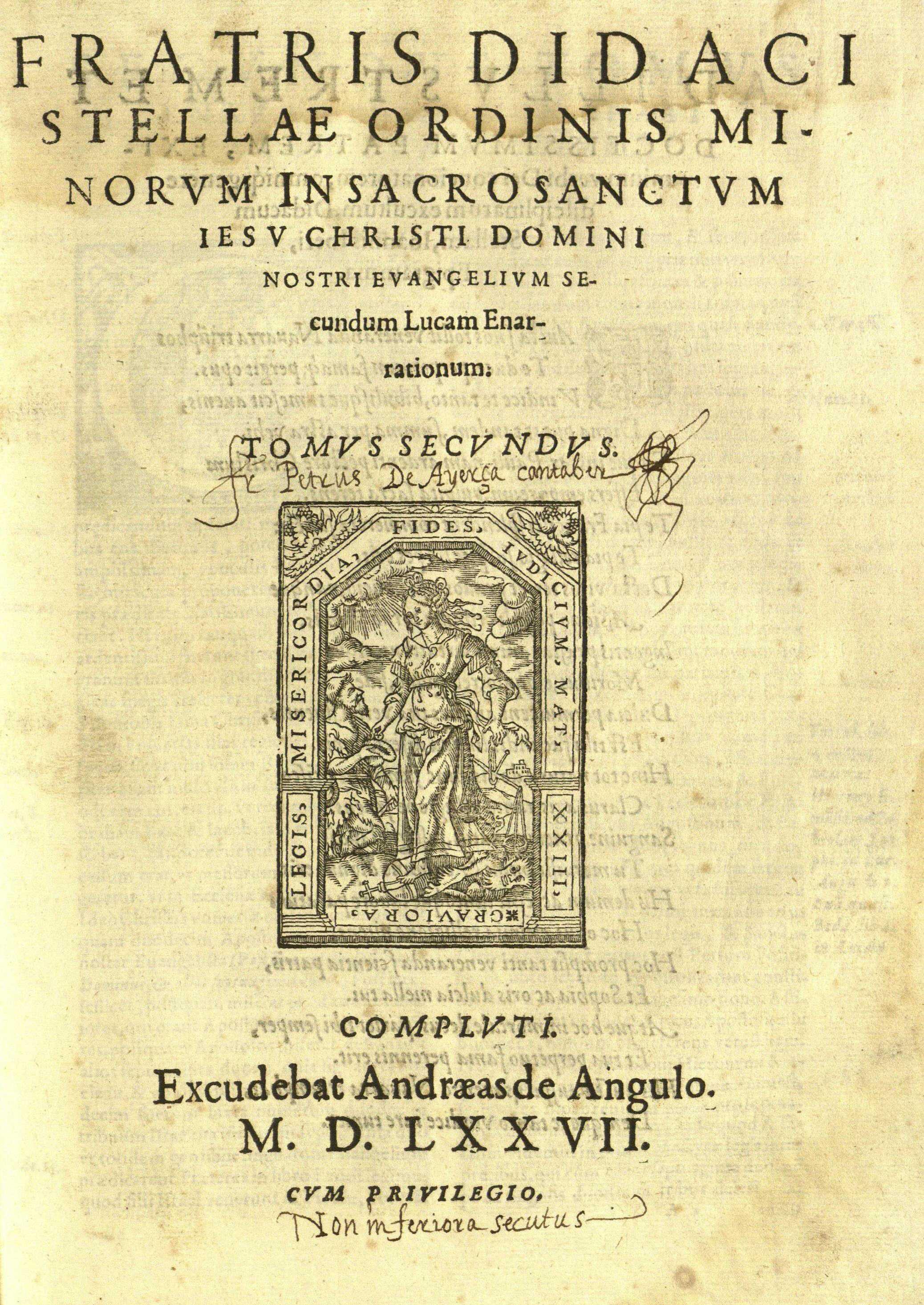 Fratris Didaci Stellae … Tomus secundus, 1577