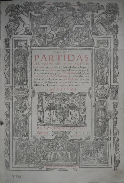 Primera Partida de Alfonso X el Sabio, 1550