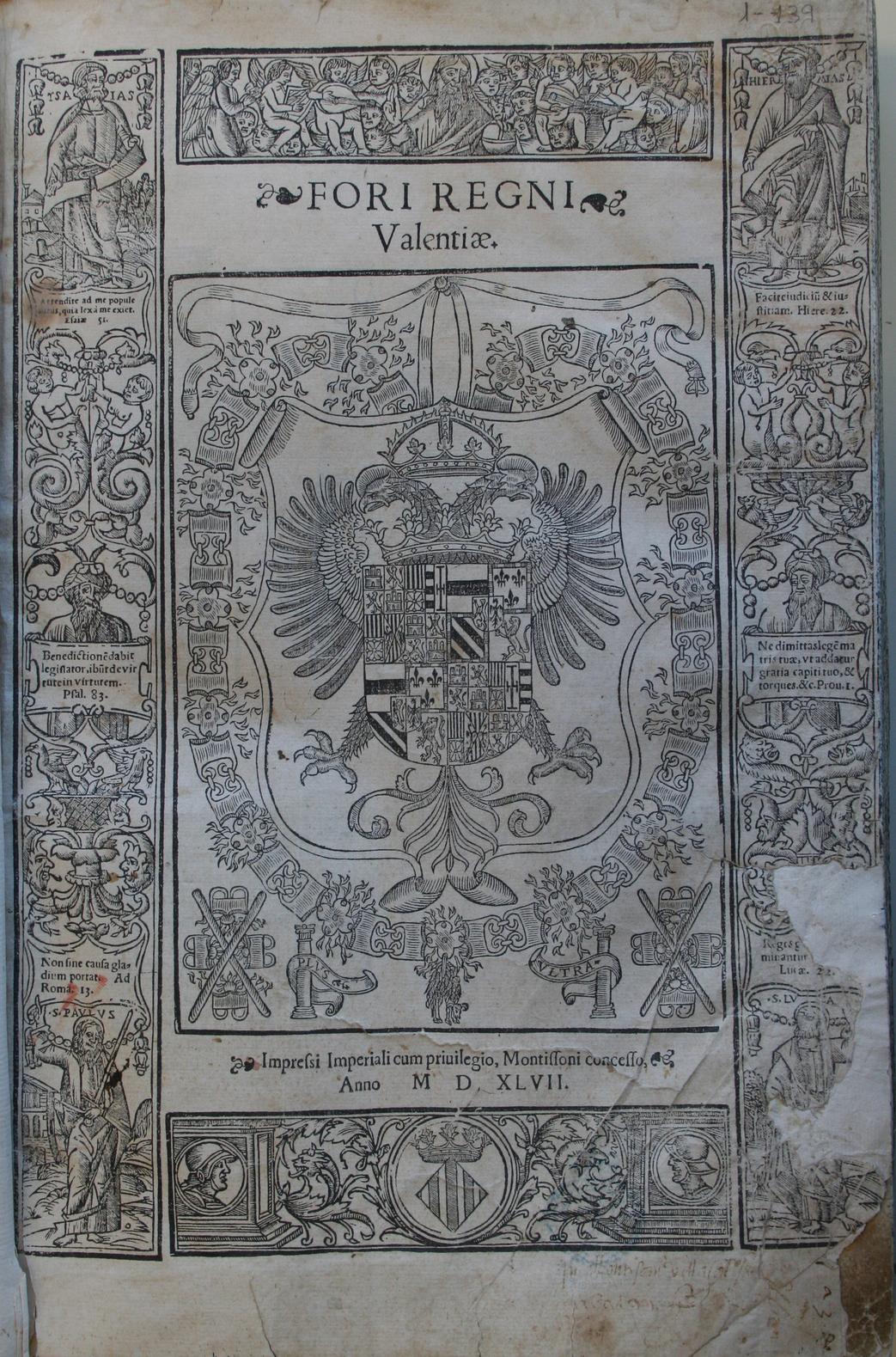 Fori Regni Valentiae, 1547 (1548)