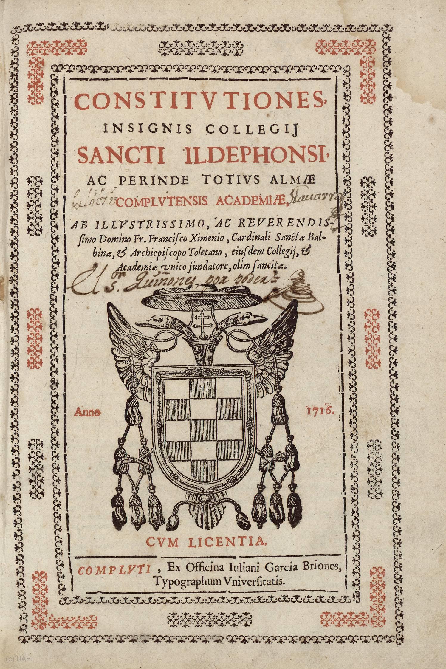 Constitutiones insignis Collegij Sancti Ildephonsi, 1716