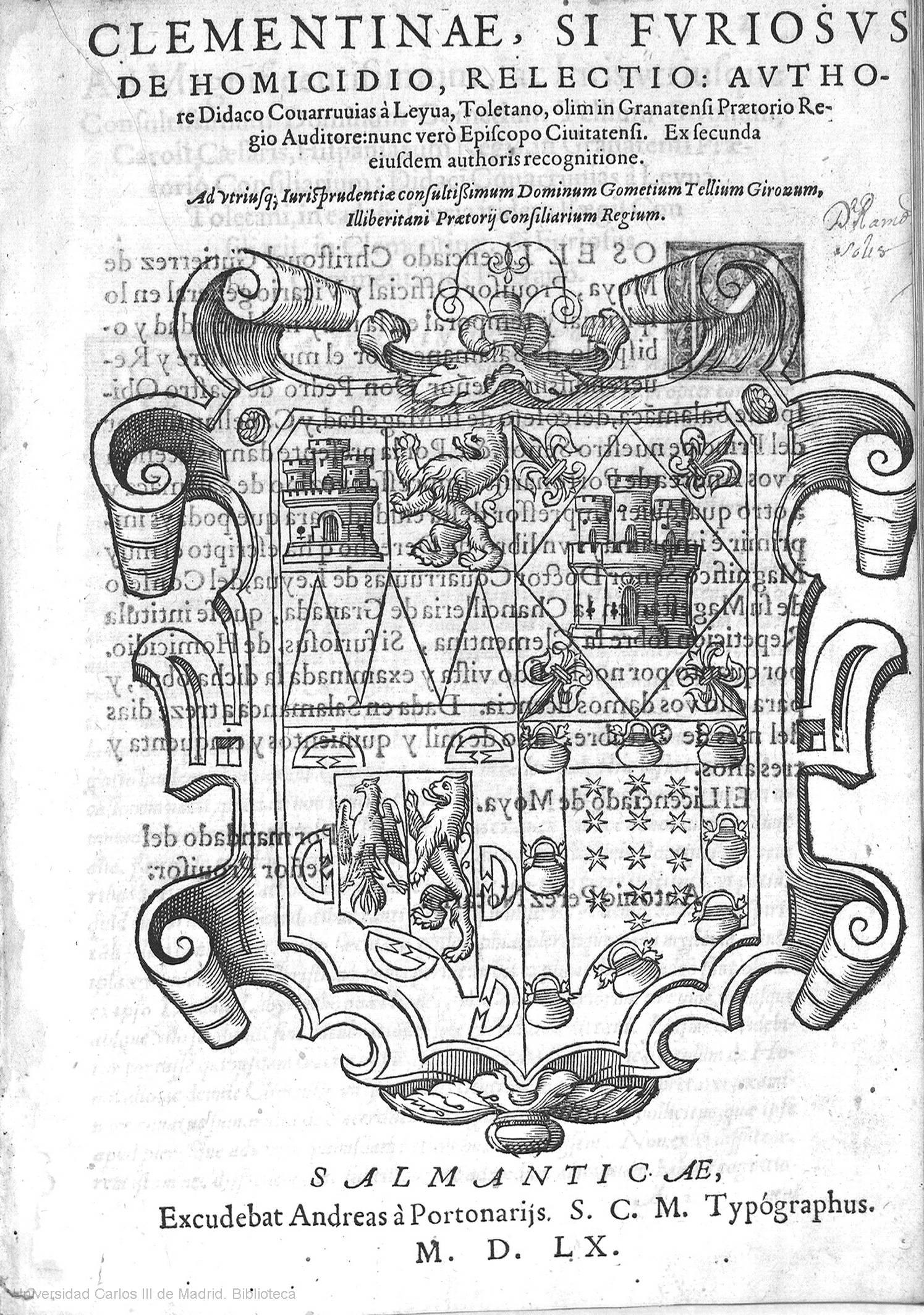 Clementinae, si fvriosvs, de homicidio, relectio, 1560