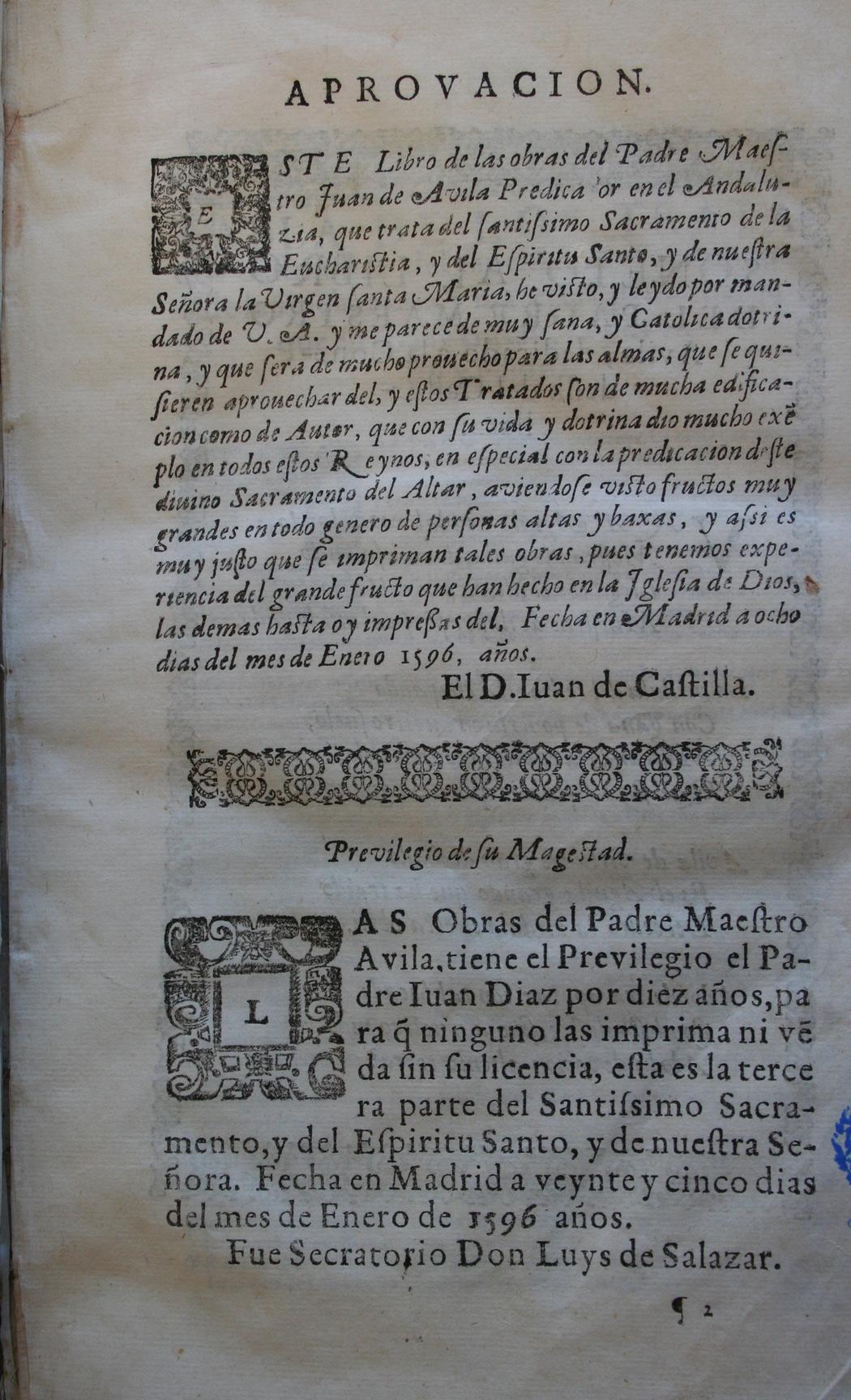 Tercera parte de las obras del Padre Maestro Iuan de Auila ..., 1596