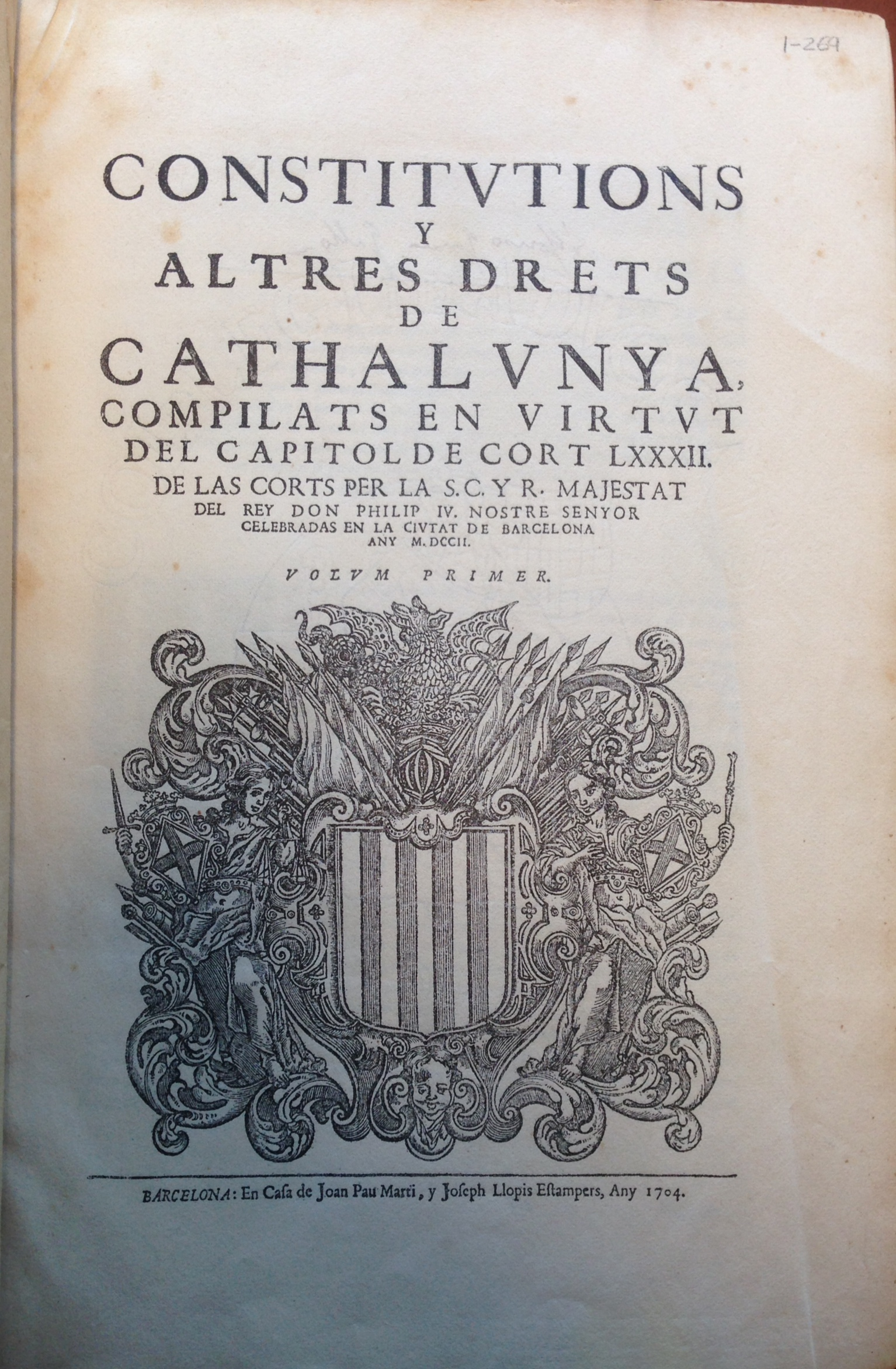 Constitutions y altres drets de Cathalunya, 1704