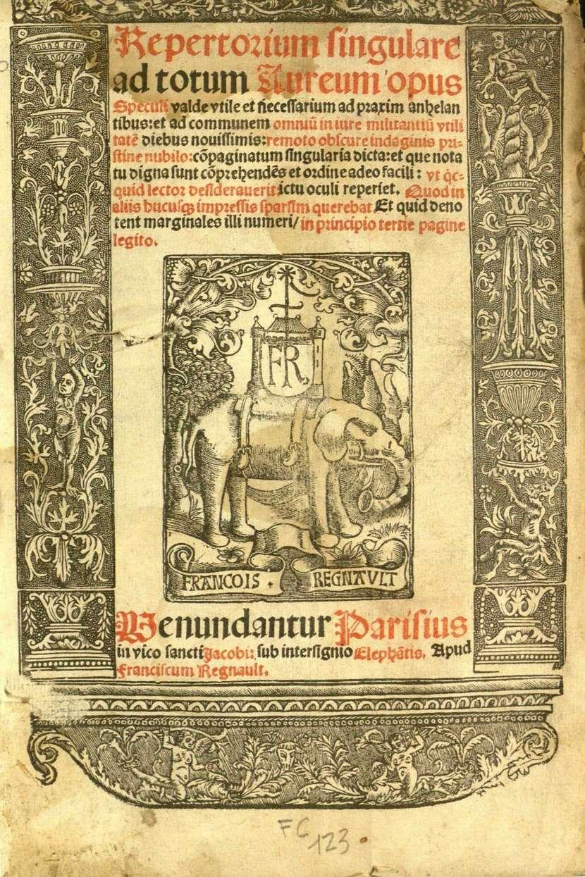 Repertorium singulare ad totum Aureum opus Speculi, 1523