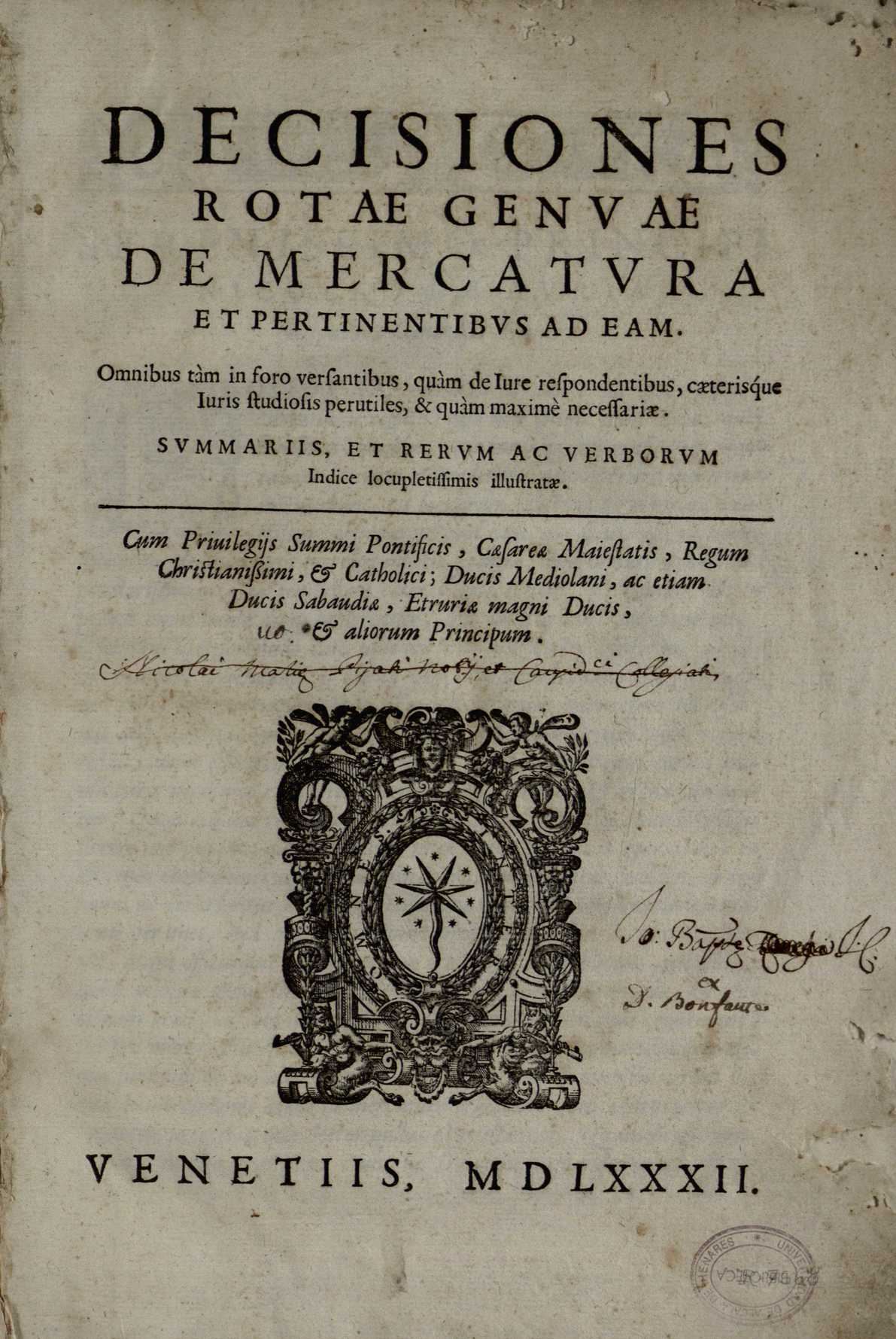Decisiones Rotae Genuae de mercatura et pertinentibus ad eam, 1581