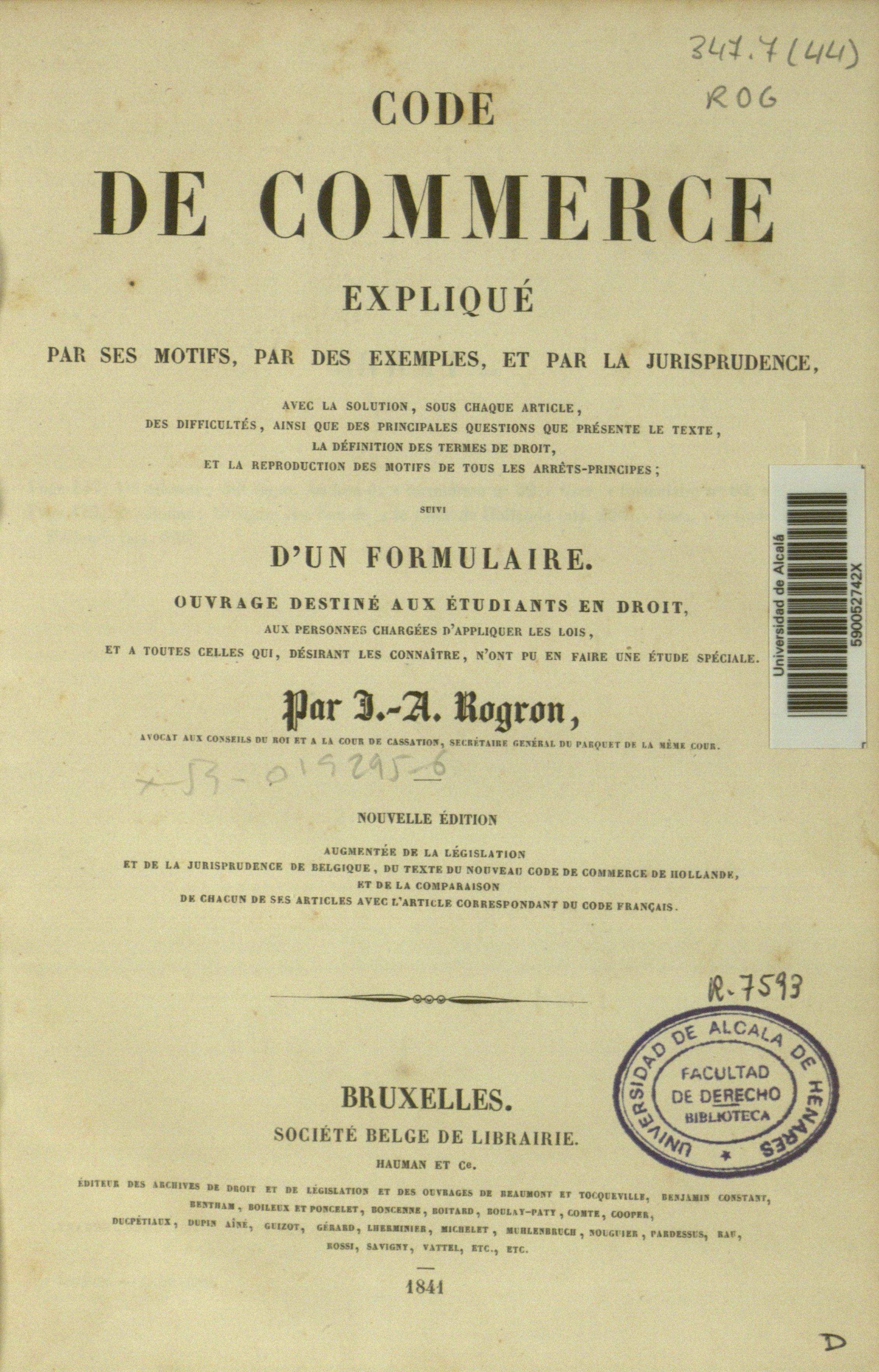 Code de commerce expliqué par ses motifs, 1841